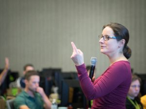 Julie Bernauer, an NVIDIA Deep Learning Institute instructor, teaches a class on deep learning on GPUs.