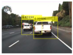 Figure 6. Detected bounding boxes and scores from Faster R-CNN vehicle detector.