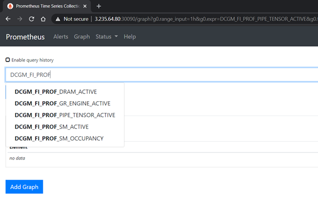 Image showing the profiling metrics served by dcgm-exporter in the Prometheus dashboard.