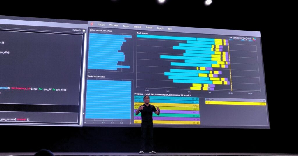 Image of Jen-Hsun Huang on stage in front of a huge screen with RAPIDS demo running in the background.