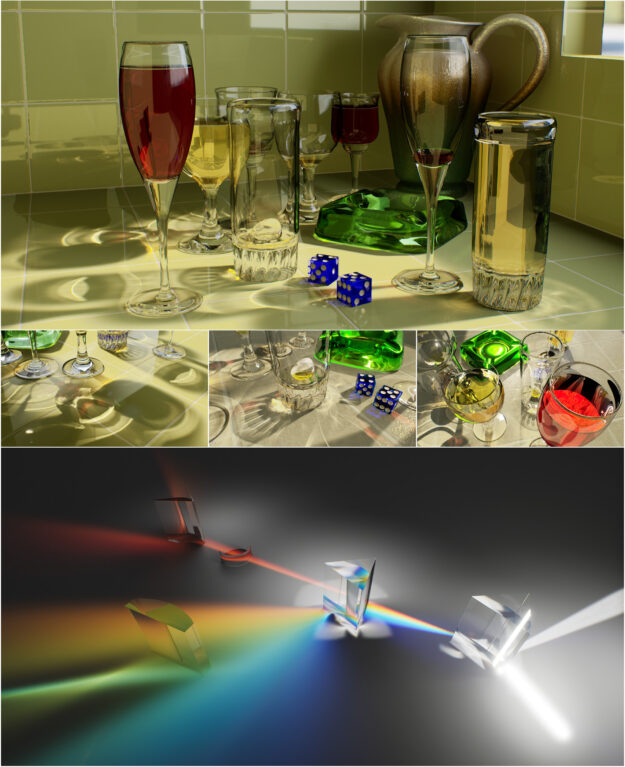 "Screenshots of mesh caustics in the test scenes of ""POV-Ray Glasses"" and ""Prisms"""