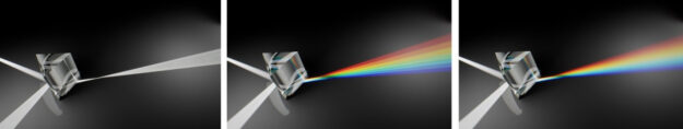 Simulating the light dispersion through prisms