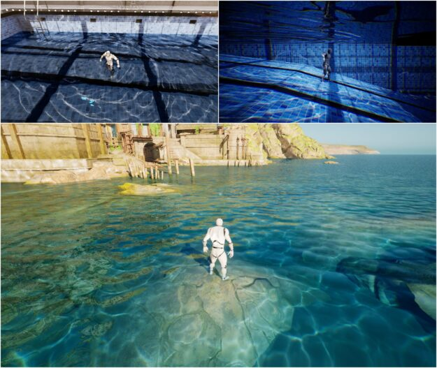 "Screenshots of water caustics in the test scenes of ""Swimming Pool"" and ""Seaside Town"""