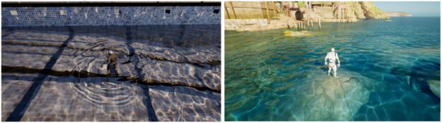 The two water caustics scenes of Swimming Pool and Seaside Town
