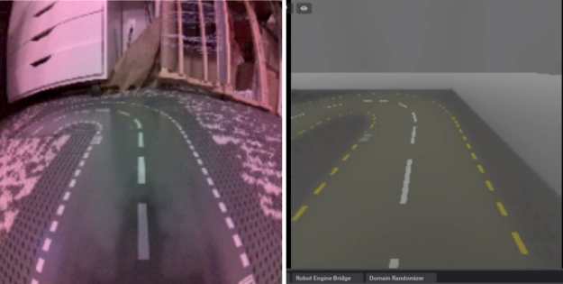 Side by side pictures showing real camera images matching the simulation camera.