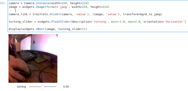 Picture showing code that turns on the real camera with Jupyter notebook.