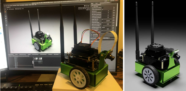 Photo shows real JetBot next to photo-realistic simulation of JetBot in Isaac Sim