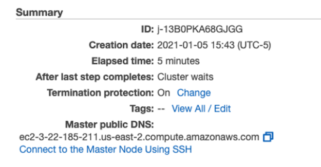 alt=Diagram shows The Summary Section of the EMR cluster management details page, with a link for information to connect to the Master Node using SSH