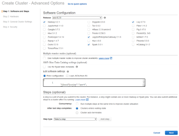 Diagram shows the EMR Create Cluster–Advanced Options page with EMR 6.2, Spark 3.01 and other software selected.