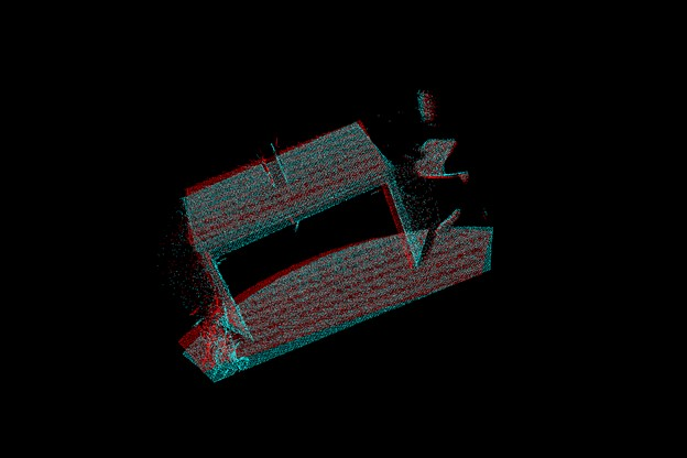 Image showing two sets of point clouds matched by cuda-icp, with only slight gaps between the overlap.