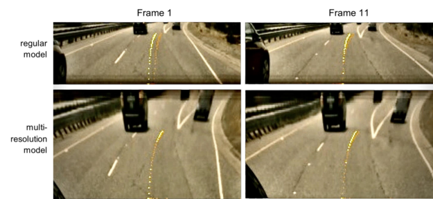 Four screenshots of road data with overlaid PilotNet trajectories in yellow and orange.