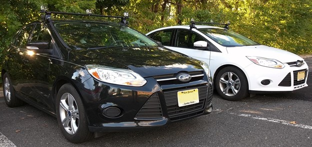 An image of two parked cars.