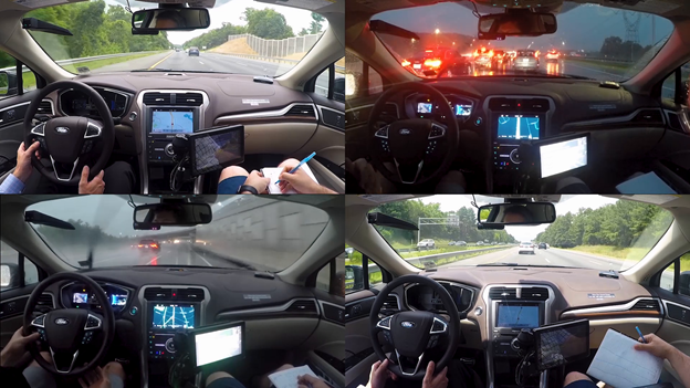 Screenshots from inside the vehicle with PilotNet operating.
