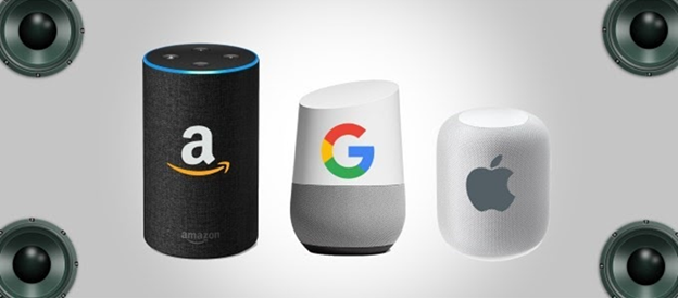 Picture of smart personal assistants including Amazon Echo, Siri, Google Assistant, and Google Now.