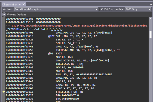 Source enabled disassembled code view of the previous code example before CUDA 11.2.