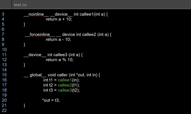 test.cu is a sample CUDAprogram where the global function caller invokes three device function:s callee1, callee2, callee3, where the callee1 and callee2 device functions are qualified with __noinline__, __forceinline__ respectively.