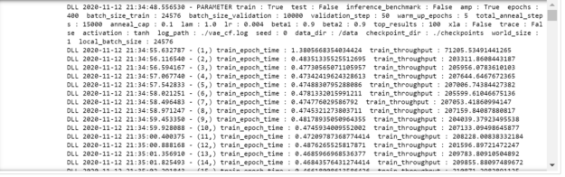 Output of each training step from the model for 50 epochs that shows the additional parameter such as batch size, validation steps, iteration time and the training throughput.