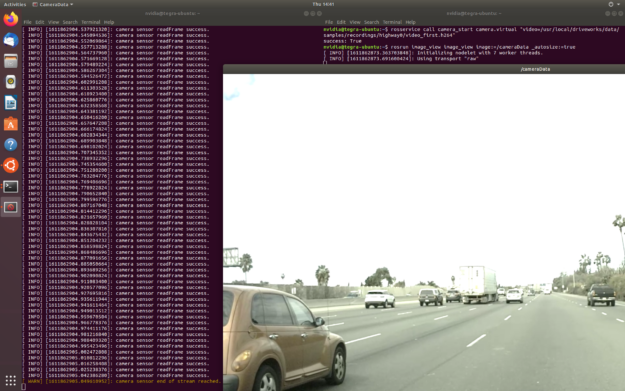 Image of a car on a freeway with the list of camera sensor readings to the left.