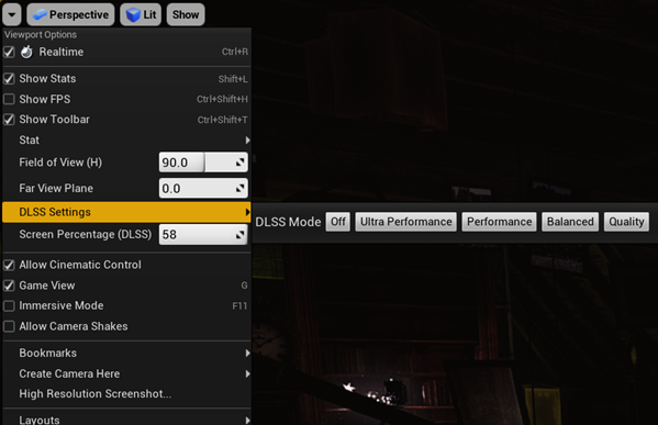 Screenshot of custom DLSS settings, including the Ultra Performance, Performance, Balanced, or Quality modes.