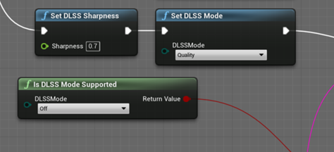 Script blueprint that visualizes how to add built-in DLSS scripts.