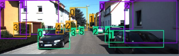 Photo with bounding boxes and corresponding diagram show a subset of the relationships of entities like vegetation and house with vehicle_0.