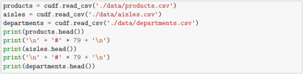 Products, aisles and departments datasets using cuDF.