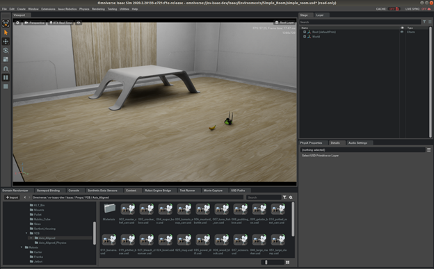 Figure demonstrates adding another object in simple room scene from Isaac Sim.