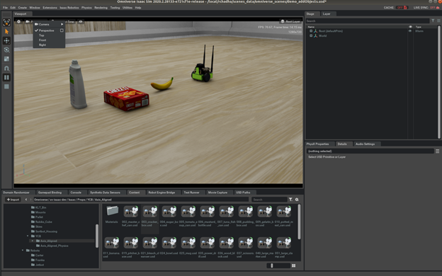 Figure demonstrates adding multiple objects in simple room scene from Isaac Sim.