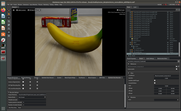 Setting up camera perspective resolution to 512x512 for DL model consumption.
