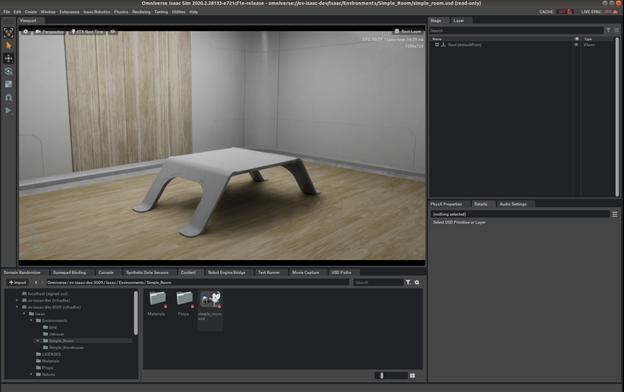 Figure demonstrates Isaac sim's simple room scene.