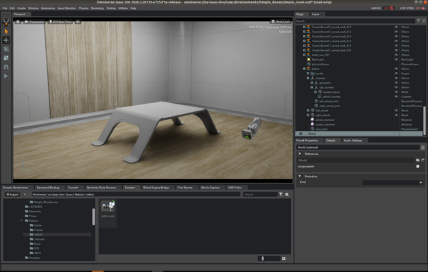 Figure adds JetBot to simple room scene.
