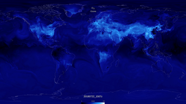 Visualization of NASA GEOS composition forecast model GEOS-CF, which simulates the distribution of 250 chemical species in Earth's atmosphere.