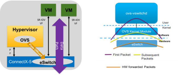 The ConnectX SmartNIC offloads data path functions through the internal eSwitch.