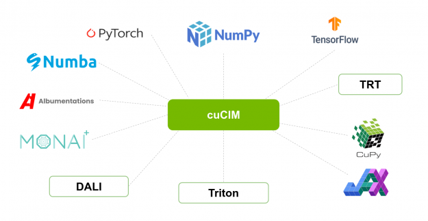 cuCIM that can interact with other libraries and frameworks such as NumPy, PyTorch, CuPy, MONAI, DALI, and Albumentations.