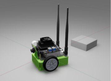 JetBot modeled in NVIDIA Isaac Sim.