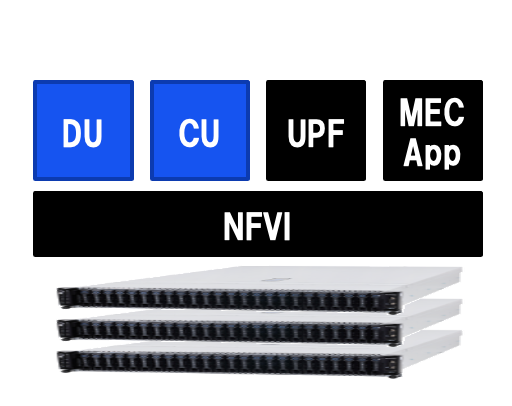 Single converged server hosts all workload required at edge locations - including RAN(DU/CU), MEC as well as UPF.