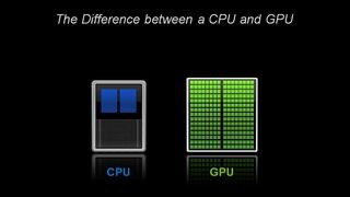 The image shows A CPU is composed of just a few cores, in contrast, a GPU is composed of hundreds of cores.