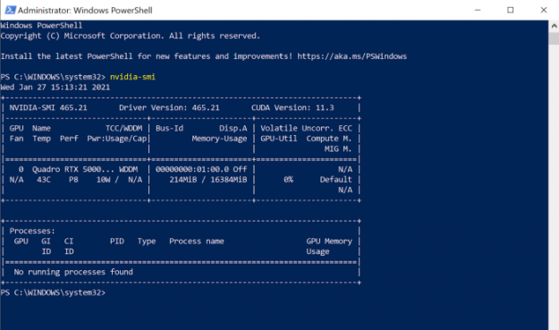 Image of NVIDIA-SMI table displayed in Windows Powershell. NVIDIA Driver version 465.21 has been correctly installed.
