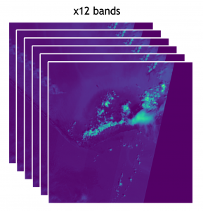 Sentinel2 image in a batch of 12 used to verify geospatial acceleration.
