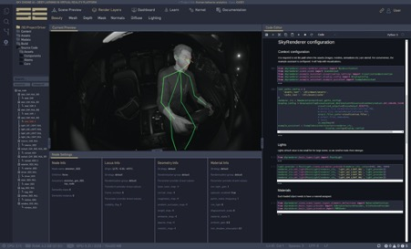 Graphical user interface of Sky Engine AI includes Code Editor with Sky Renderer configuration, Render Layers preview (Beauty Pass), Node Settings information, and Objects Tree.