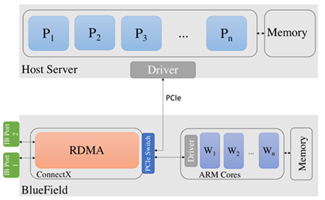 Diagram shows the BlueField DPU connected to the host server through a PCIe switch.