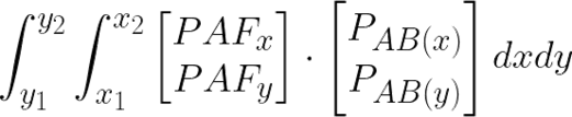 The image depicts the mathematical relation for a line integral over the calculated vector between two keypoints.