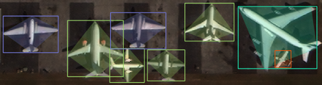 This synthetic image shows annotations with some bounding boxes on several aircrafts