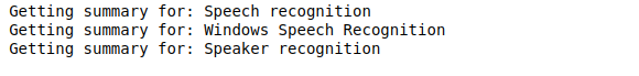 The figure shows the printed output of the Python code run, three articles related to speech recognition.