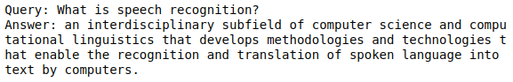 The output of the Python code run, the query and answer, generated by the Riva QA function.
