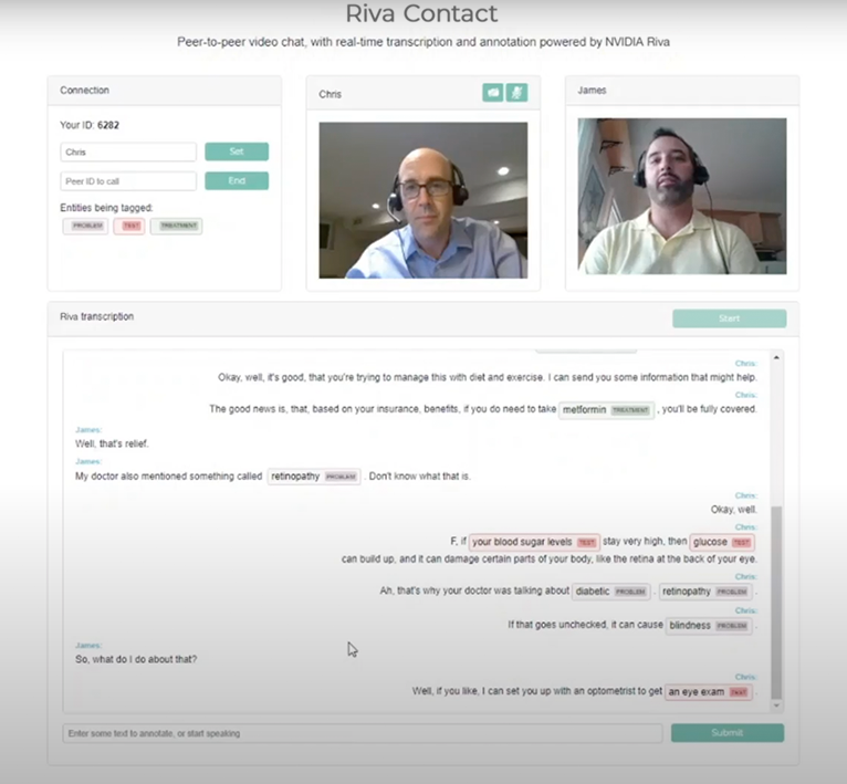 Two people hold a video call while Riva transcribes the conversation and tags medical terms.
