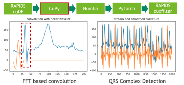 The left panel depicts a single heartbeat and a Ricker wavelet. The right panel depicts 13 continuously measured heartbeats and the corresponding output of the convolution with the Ricker wavelet.
