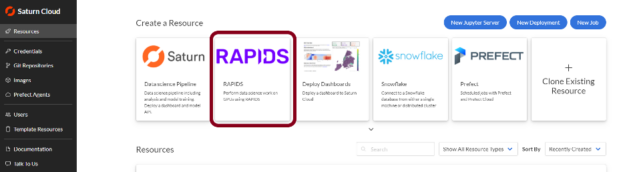 """Quickly get started with RAPIDS by navigating to Saturn Cloud's """"Resources"""" page."""