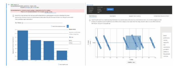 The explanations dashboard showing model performance and feature importance.