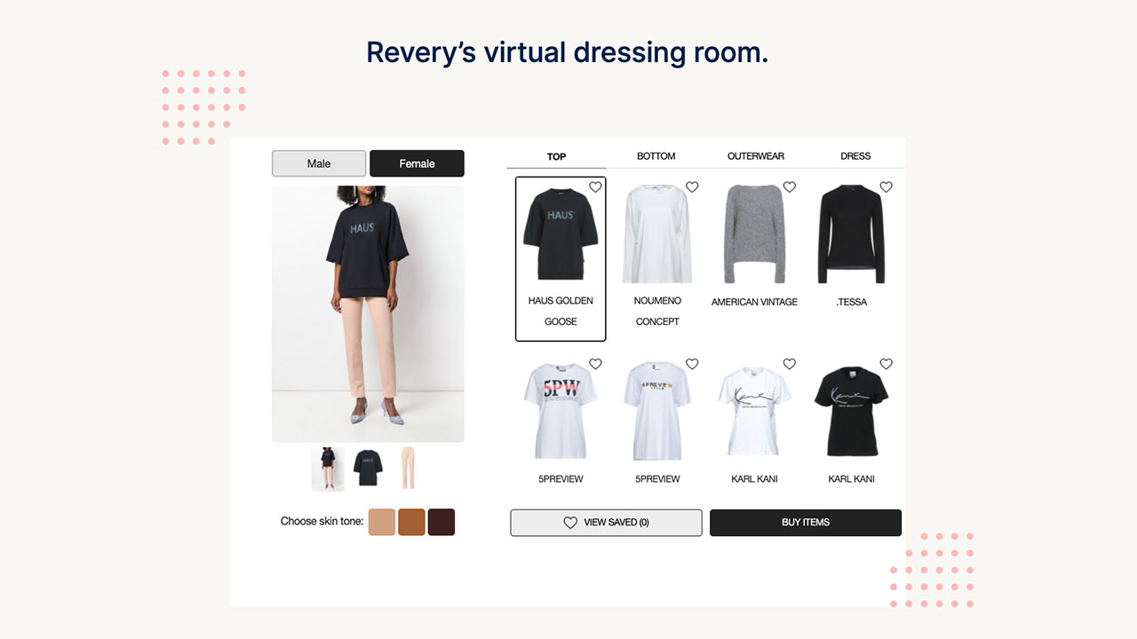 Screen shot of a virtual dressing room.